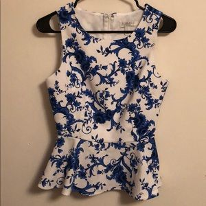 Blue Floral on White Peplum Blouse